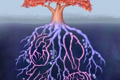 Infographic of a tree and root system is a representation of psoriatic disease as an immune-mediated inflammatory disease with underlying systemic inflammation contributing to various comorbidities